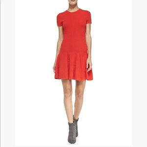 Rebecca Minkoff Red Textured Drop Waist Dress